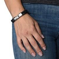 Armband Herren schwarz silber (2)